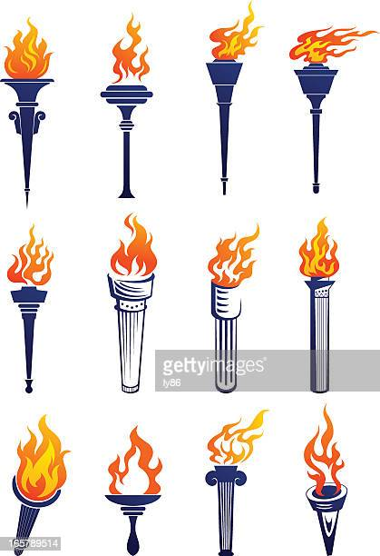 Set of plain and 3D lit up torches graphics