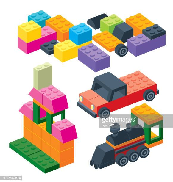 illustrations, cliparts, dessins animés et icônes de ensemble de construction de pièces en plastique - collection