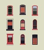 Set of plastic wooden windows