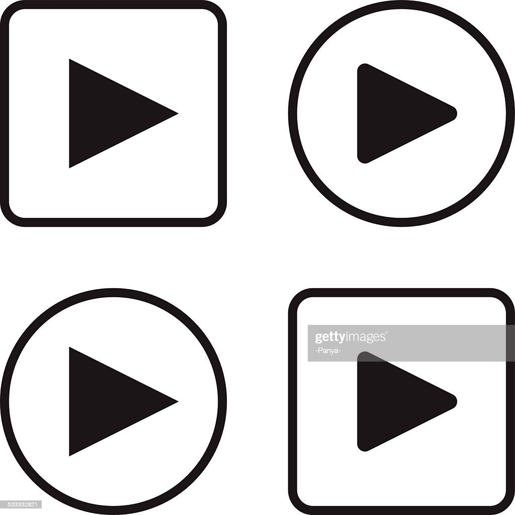 Set of play button icons