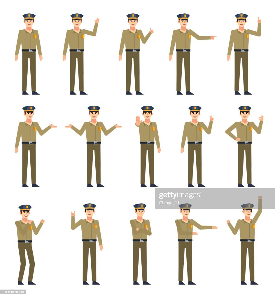 Set of police officer characters showing various hand gestures. Policeman pointing, greeting, showing thumb up, victory hand and other gestures