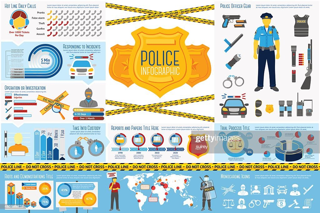 Set of Police work Infographic elements with icons, different charts