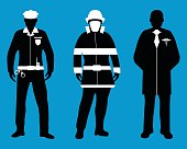 Set of Policeman, Doctor, Fireman flat icons. Service 911.