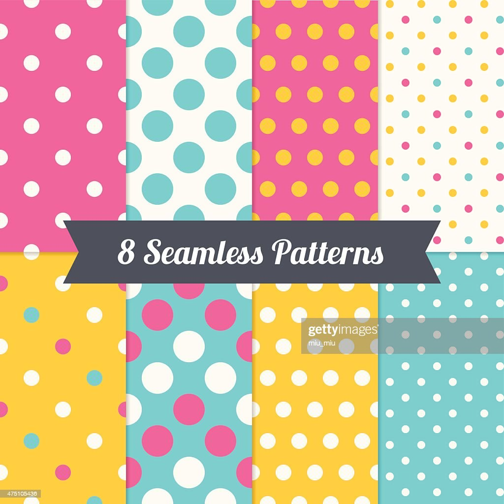 Set of Polka Dot Holiday Seamless Patterns