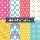 Set of Polka Dot Holiday Seamless Patterns