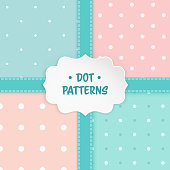 Set of polka dot seamless patterns with a paper shape label and stitched ribbons. Baby shower invitation background, children's clothes pattern, room wallpaper, scrapbook cover or a gift wrap. Vector