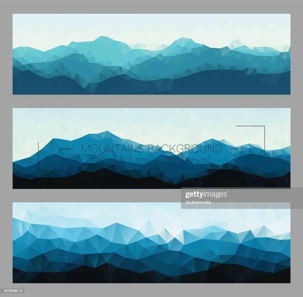 Set of polygonal mountain landscapes in different colors