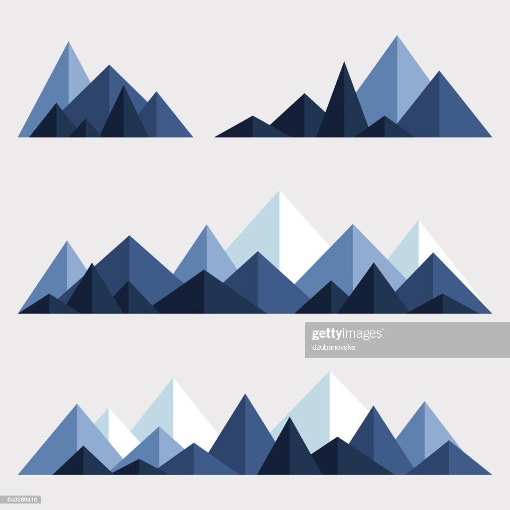 Set of polygonal mountain ridges