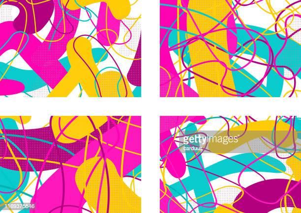 satz von pop-art-doodle-muster - streetart stock-grafiken, -clipart, -cartoons und -symbole