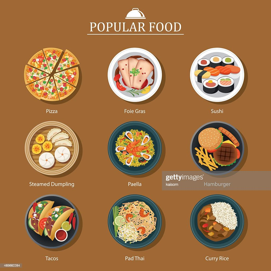 set of popular food