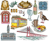 Set of Portugal drawings and landmarks.