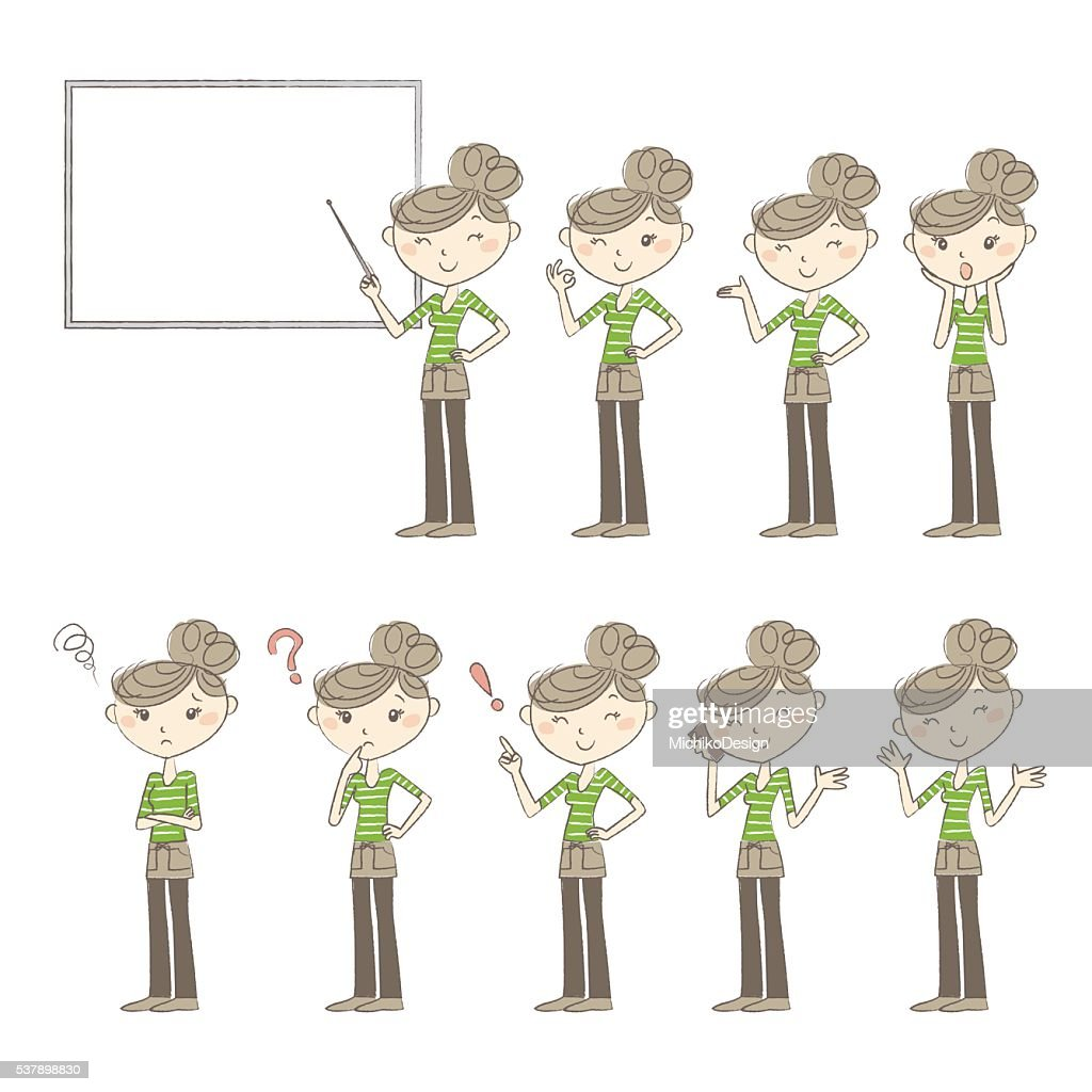 Set of poses and emotions, women