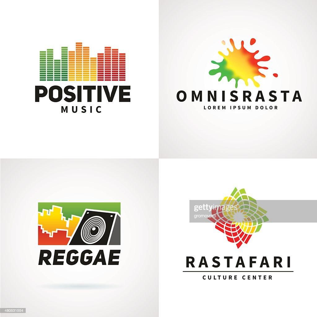 Set of positive africa ephiopia flag icon design. Jamaica reggae : Vector Art