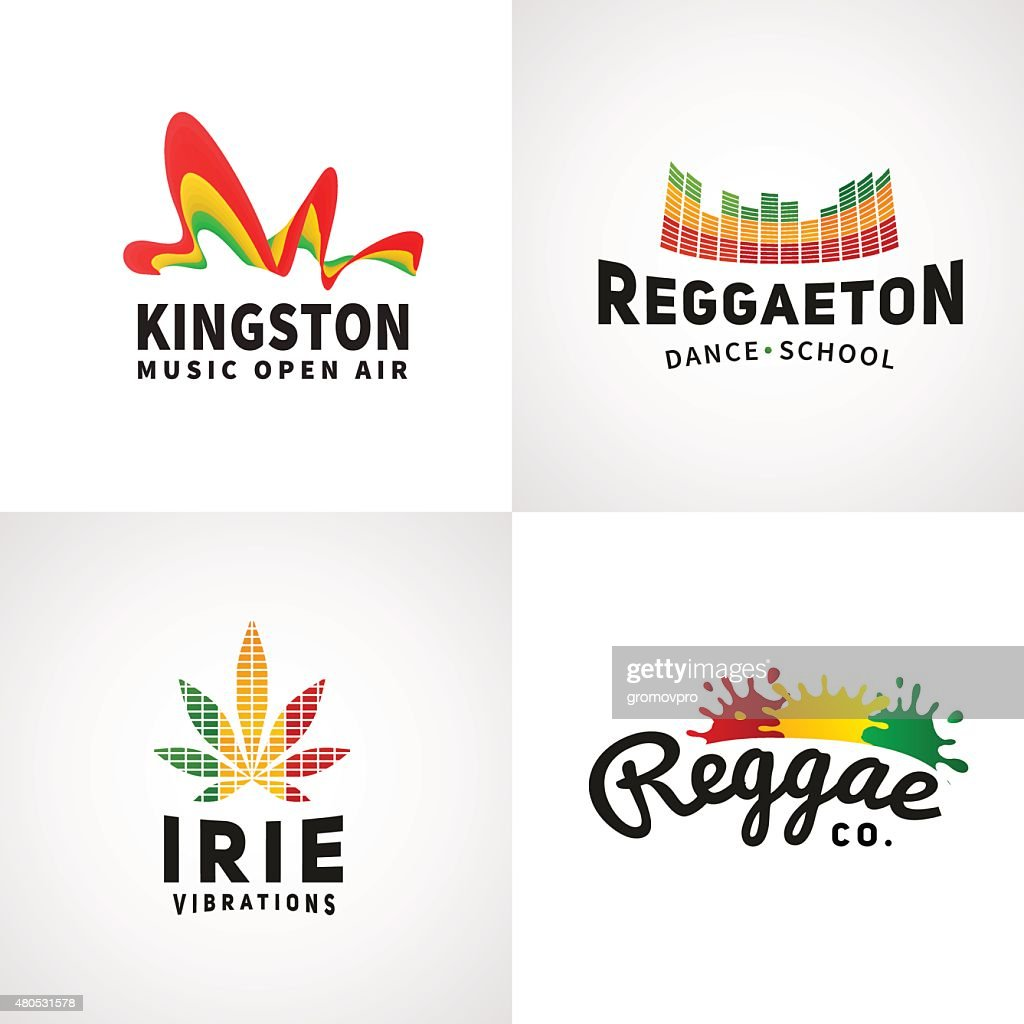 Set of positive ephiopia flag icon. Jamaica reggaeton dance music : Vectorkunst