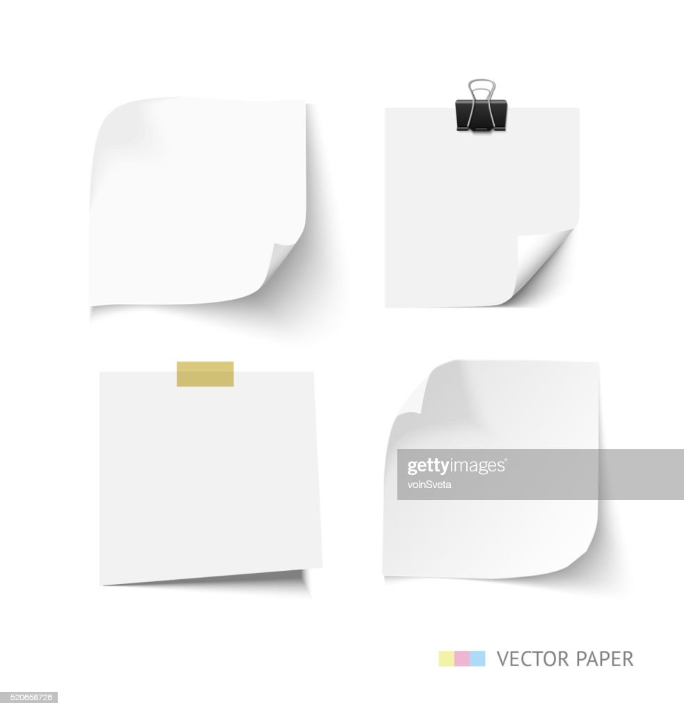 Set of post it paper sheets. Realistic vector notepaper with