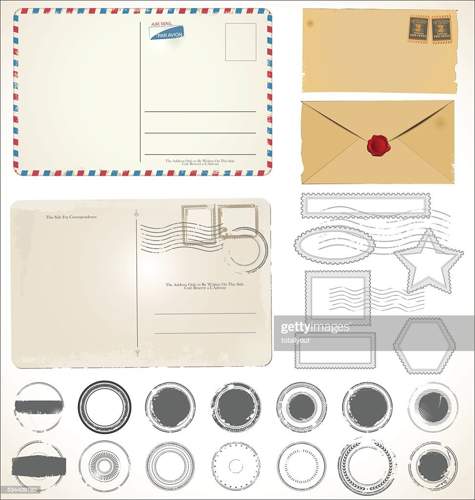 Set of post stamp symbols vector illustration