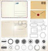 Set of post stamp symbols vector illustration
