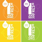 Set of posters fresh juice grape, orange, mango and apple