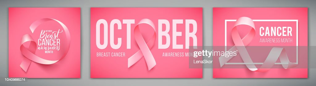 Set of posters with for breast cancer awareness month in october. Realistic pink ribbon symbol. Vector illustration.