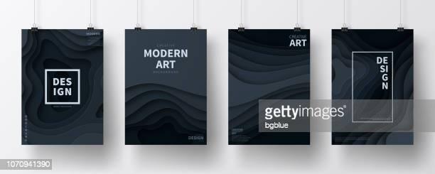 ilustrações, clipart, desenhos animados e ícones de conjunto de cartazes com papel cortado projeto, isolado no fundo branco - outdoor