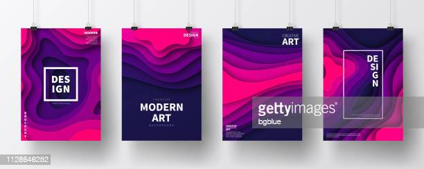 set of posters with paper cut design, isolated on white background - purple stock illustrations