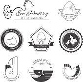Set of poultry emblems