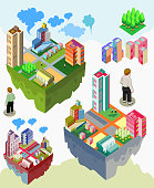 set of pre assembly city vector isometric