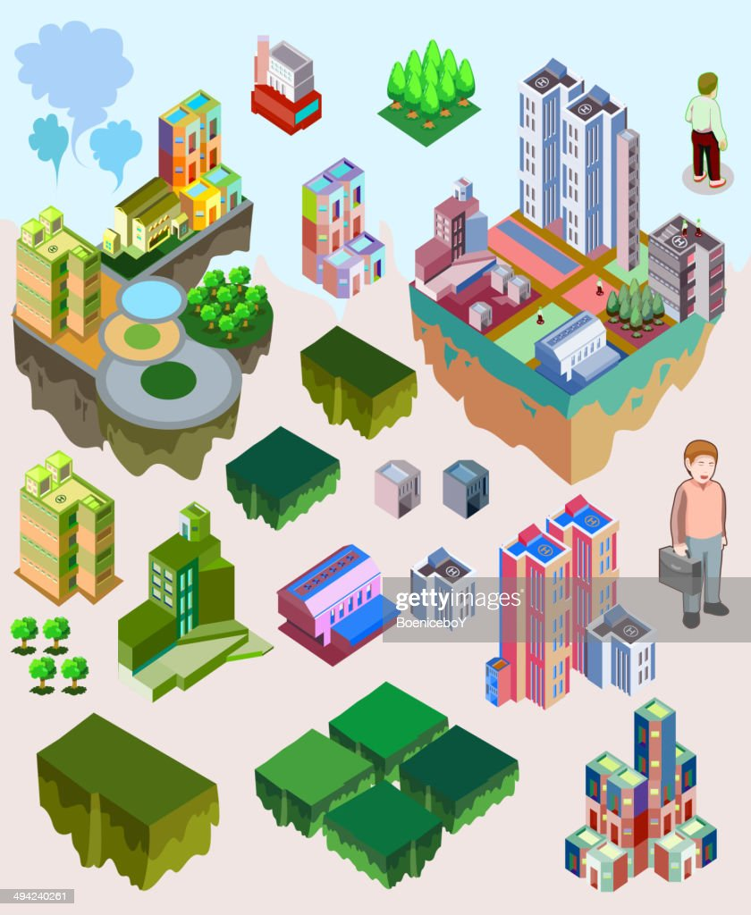 set of pre assembly city vector isometric.game and map