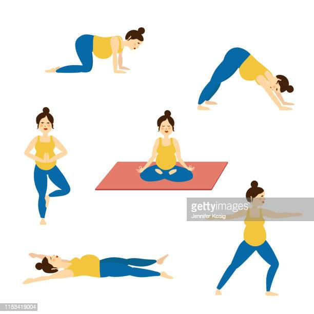 set of pregnancy yoga poses, illustrated - yoga instructor stock illustrations, clip art, cartoons, & icons