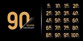 Set of premium anniversary logotype. Golden anniversary celebration emblem design.