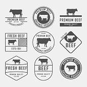 Set of premium beef labels, badges and design elements. Vector Illustration.