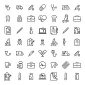 Set of premium healthcare icons in line style.