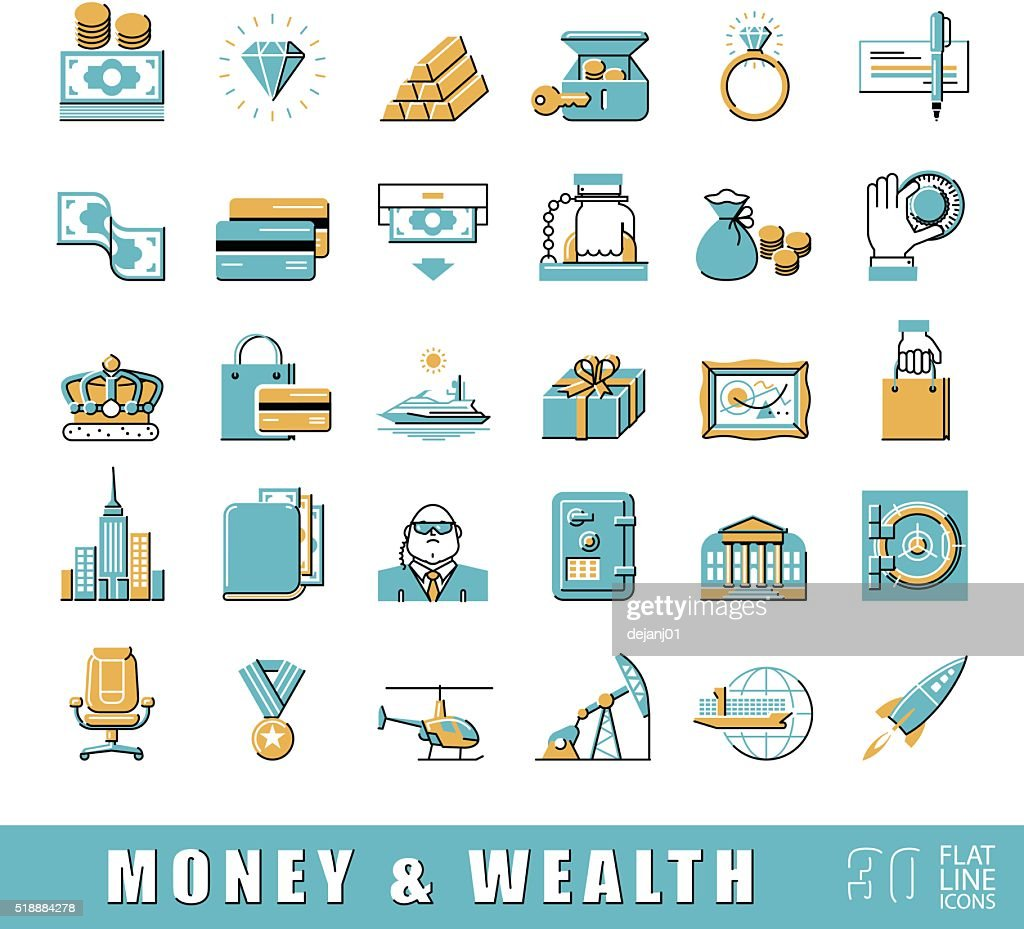 Set of premium quality flat line money and wealth icons.