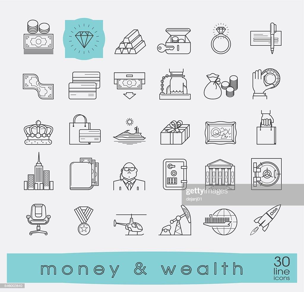 Set of premium quality line money and wealth icons.