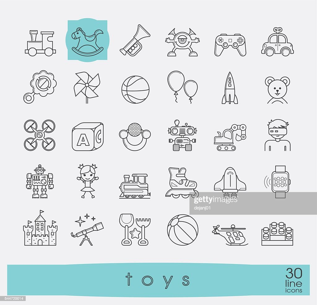 Set of premium quality line toy icons.