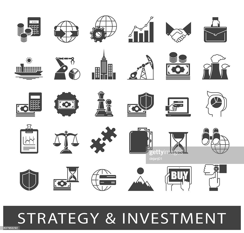 Set of premium quality strategy and investment icons