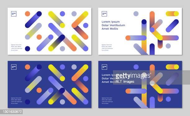 illustrazioni stock, clip art, cartoni animati e icone di tendenza di set di layout di struttura diapositiva del titolo della presentazione con grafica di connessione geometrica astratta - presentazione con slide