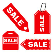 SALE. Set of price tag icon. Red signs isolated on white background. Vector illustration