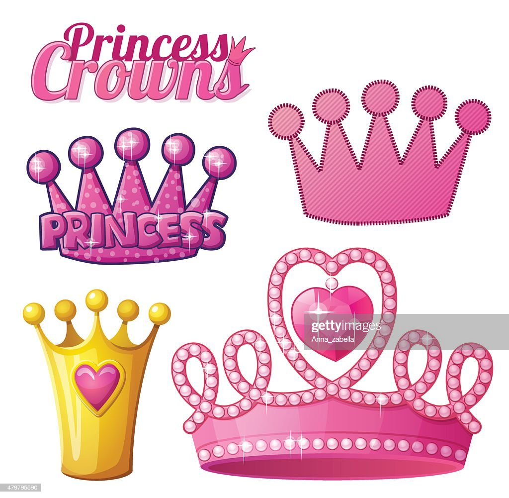 Set  of princess crowns isolated on white. Vector illustration