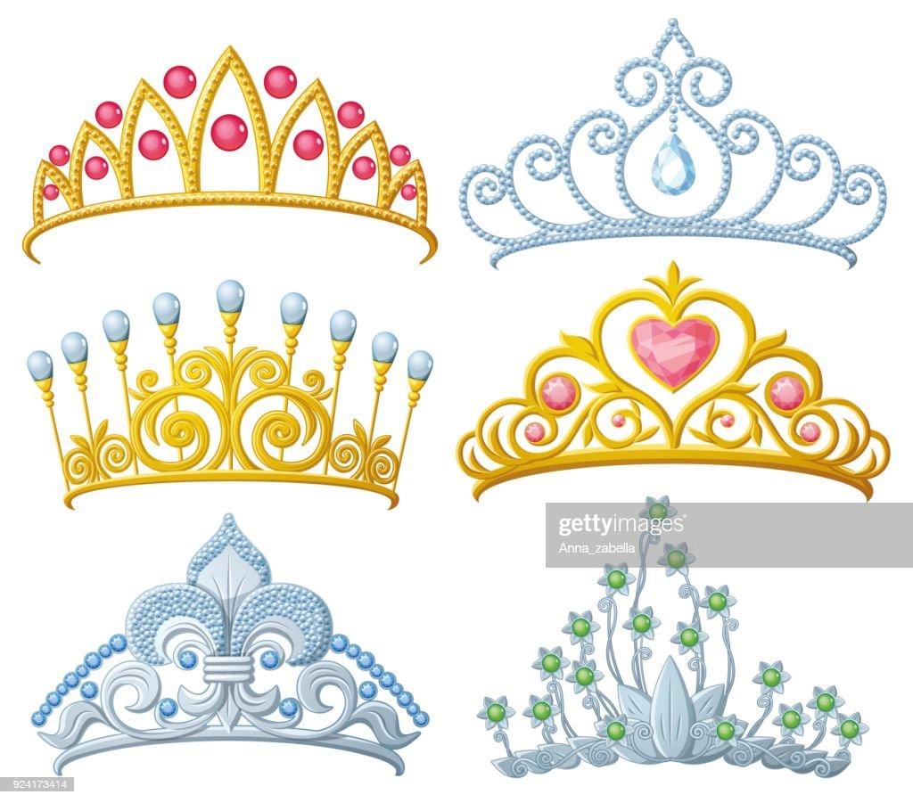 Set of princess crowns Tiara isolated
