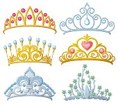 Set of princess crowns Tiara isolated