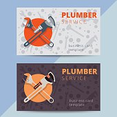 Set of professional plumbing service business card templates