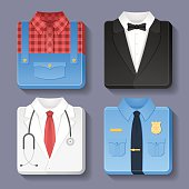 Set of professional uniform icons