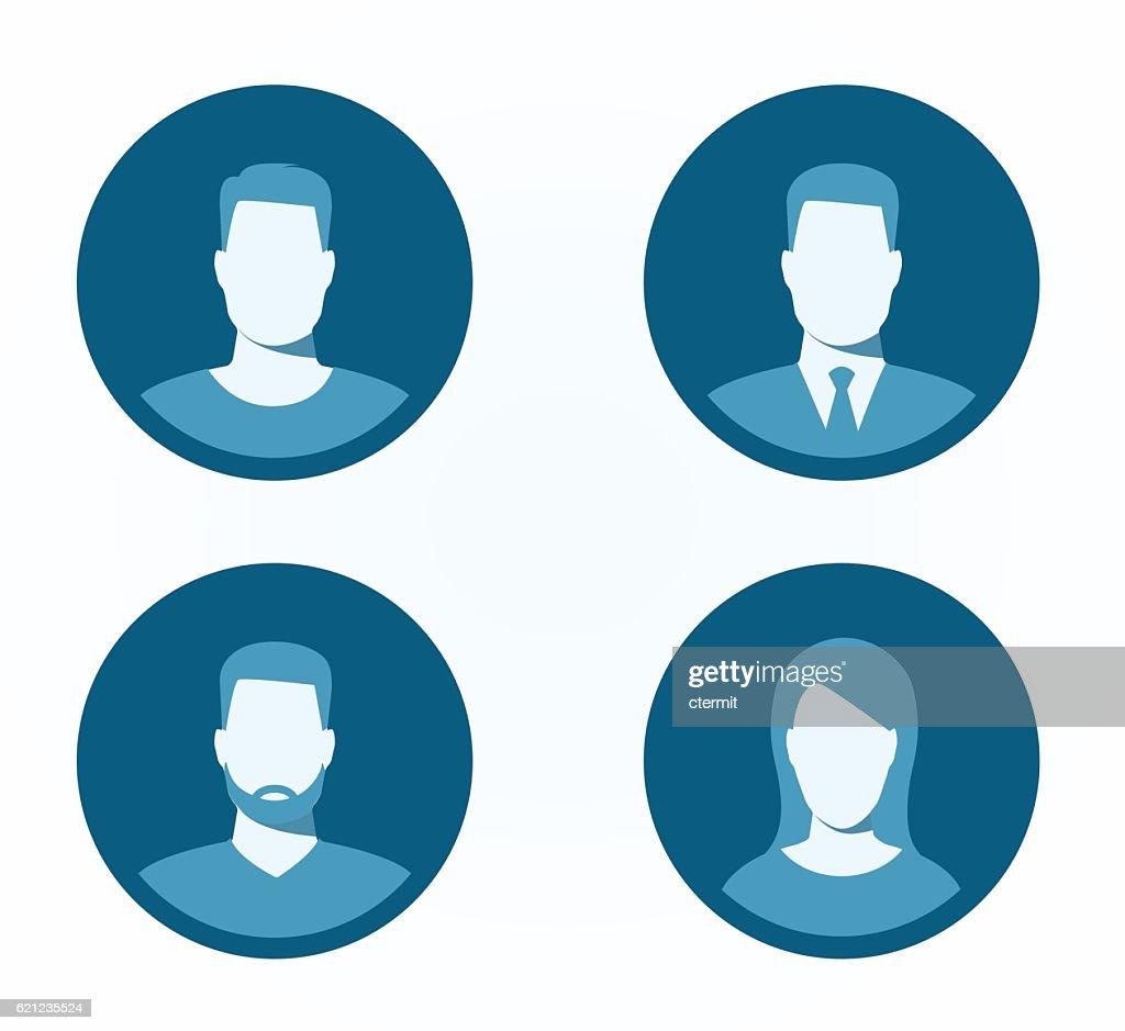 Set of profile icons