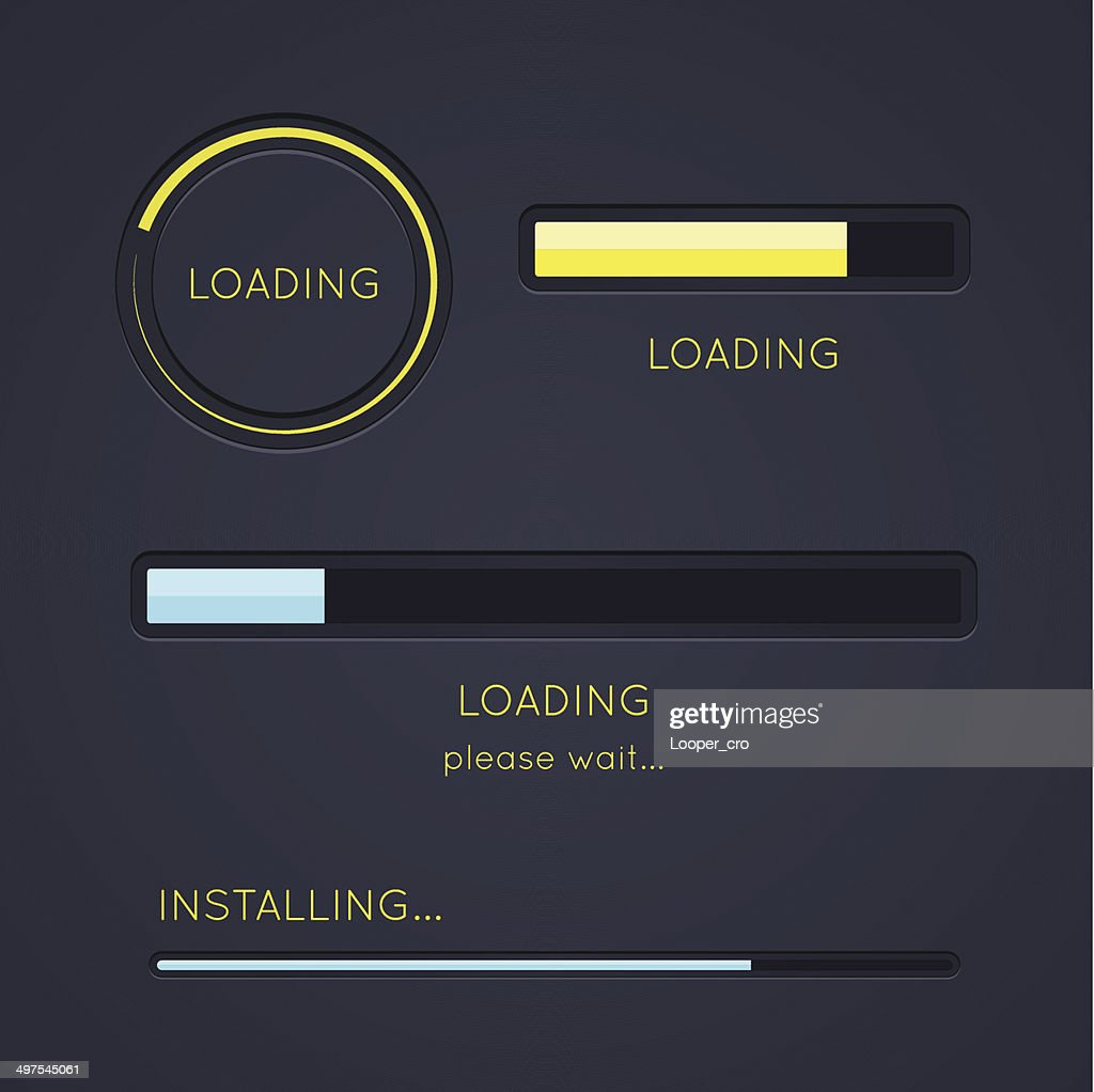 Set of progress loading bars on dark background