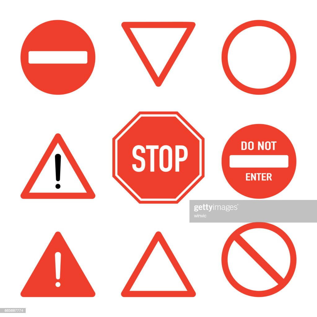 Set of prohibitory road stop signs, flat vector illustration isolated on white background. Traffic safety sign concept, different shapes and forms. Stop sign set, front view. Traffic warning signs.