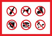 set of prohibitory signs for cafes, hospitals and other institutions