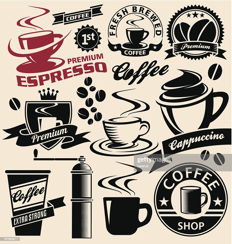 Set of promotional coffee symbols, signs, icons and logo elements