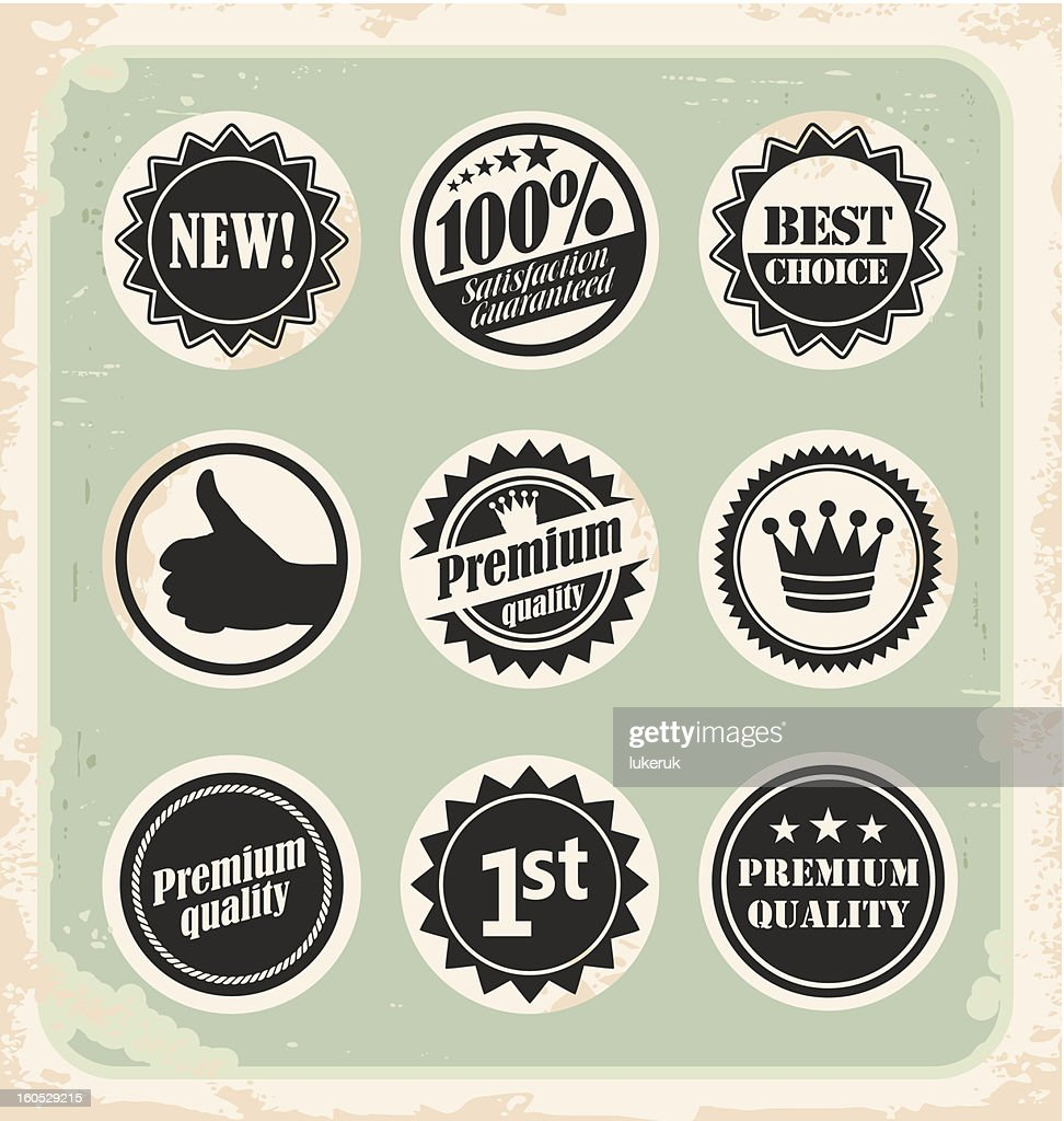 Set of promotional retro labels badges stamps and stickers stock vector