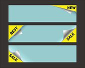 set of promotional stickers corners, sale, best, new